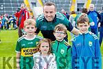Liam Corkery with Saoirse, Eoin, Ruairi and Fionán O'Callaghan,enjoying the Kerry Team Open Day Meet and Greet, at Fitzgerald Stadium, Killarney on Saturday last.