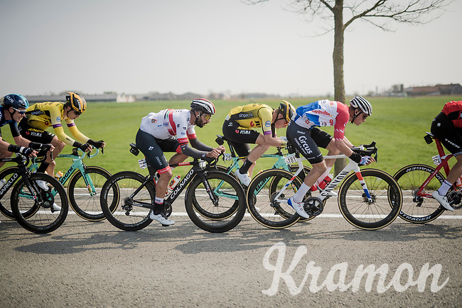 Mathieu Van Der Poel (NED/Correndon-Circus) made the cut up front and is followed closeley by Fernando Gaviria (COL/UAE-Emirates)<br /> <br /> 81st Gent-Wevelgem 'in Flanders Fields' 2019<br /> One day race (1.UWT) from Deinze to Wevelgem (BEL/251km)<br /> <br /> ©kramon