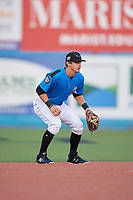 Hudson Valley Renegades shortstop Ford Proctor (7) during a game against the Tri-City ValleyCats on August 24, 2018 at Dutchess Stadium in Wappingers Falls, New York.  Hudson Valley defeated Tri-City 4-0.  (Mike Janes/Four Seam Images)