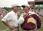 Miami Coach Dennis Erickson and FSU Coach Bobby Bowden share a laugh before the game against the Hurricanes, won by FSU 28-10. (Mark Wallheiser/TallahasseeStock.com)