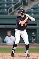 Left fielder Tucker Flint (36) of the Maryland Terrapins bats in a game against the Michigan State Spartans on Saturday, March 6, 2021, at Fluor Field at the West End in Greenville, South Carolina. (Tom Priddy/Four Seam Images)