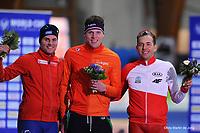 SPEEDSKATING: ERFURT: 21-01-2018, ISU World Cup, Podium 1000m Men Division B, Henrik Fagerli  Rukke (NOR), Lennart Velema (NED), Zbigniew  Bródka (POL), photo: Martin de Jong