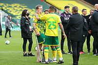 1st May 2021; Carrow Road, Norwich, Norfolk, England, English Football League Championship Football, Onel Hernandez of Norwich City speaks with an injured Oliver Skipp of Norwich City