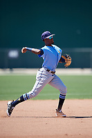 Tampa Bay Rays Osmy Gregorio (43) warms up before a Minor League Spring Training game against the Minnesota Twins on March 17, 2018 at CenturyLink Sports Complex in Fort Myers, Florida.  (Mike Janes/Four Seam Images)