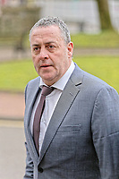 """COPY BY TOM BEDFORD<br /> Pictured: Victim David Evans arrives at Merthyr Tydfil Crown Court, Wales, UK. Tuesday 06 February 2018<br /> Re: A trial of chef Kamrul Islam who attacked a client with chilli powder is due to start Merthyr Tydfil Crown Court.<br /> David Evans was at the Prince of Bengal restaurant on Saturday night when the incident took place.<br /> The 46-year-old was out for dinner with his wife Michelle when they were asked by a waiter if they were enjoying their curry.<br /> The couple said they told the waiter their meal was """"tough and rubbery"""" and he passed the complaint onto the head chef.<br /> Michelle said chilli powder was then thrown into her husband's eyes and he was taken to hospital."""