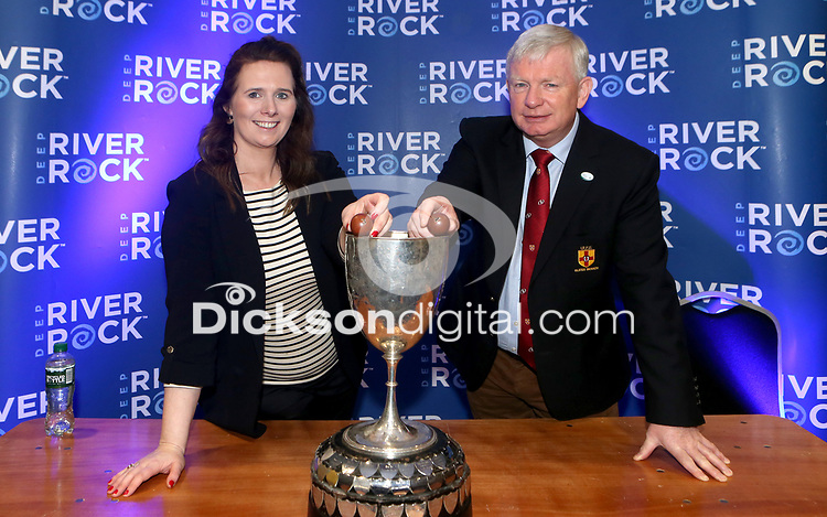 Monday 24th February 2020 | Deep River Rock Ulster Towns Cup Semi-Final Draw<br /> <br /> Pictured making the draw are Hillary Hughes representing the sponsors Deep River Rock and Ulster Branch Senior Vice President Philip Gregg at the Deep River Rock Ulster Towns Cup Semi-Final draw which was held at Kingspan Stadium today. Photo by John Dickson / DICKSONDIGITAL