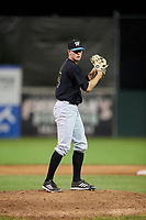 West Virginia Black Bears relief pitcher Blake Weiman (34) gets ready to deliver a pitch during a game against the Batavia Muckdogs on August 5, 2017 at Dwyer Stadium in Batavia, New York.  Batavia defeated Williamsport 3-2.  (Mike Janes/Four Seam Images)