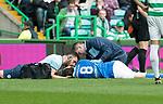 Celtic v St Johnstone …26.08.17… Celtic Park… SPFL<br />Murray Davidson lies injured after his head clash<br />Picture by Graeme Hart.<br />Copyright Perthshire Picture Agency<br />Tel: 01738 623350  Mobile: 07990 594431