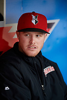 Indianapolis Indians Cody Dickson (43) before a game against the Toledo Mud Hens on May 2, 2017 at Victory Field in Indianapolis, Indiana.  Indianapolis defeated Toledo 9-2.  (Mike Janes/Four Seam Images)