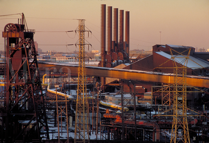 Dawn at LTV Steel's Cleveland Works. Cleveland Ohio USA.