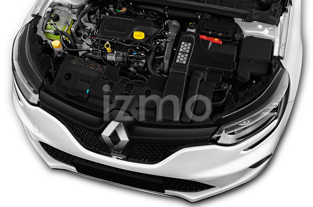Car stock 2017 Renault Megane GT 5 Door Hatchback engine high angle detail view