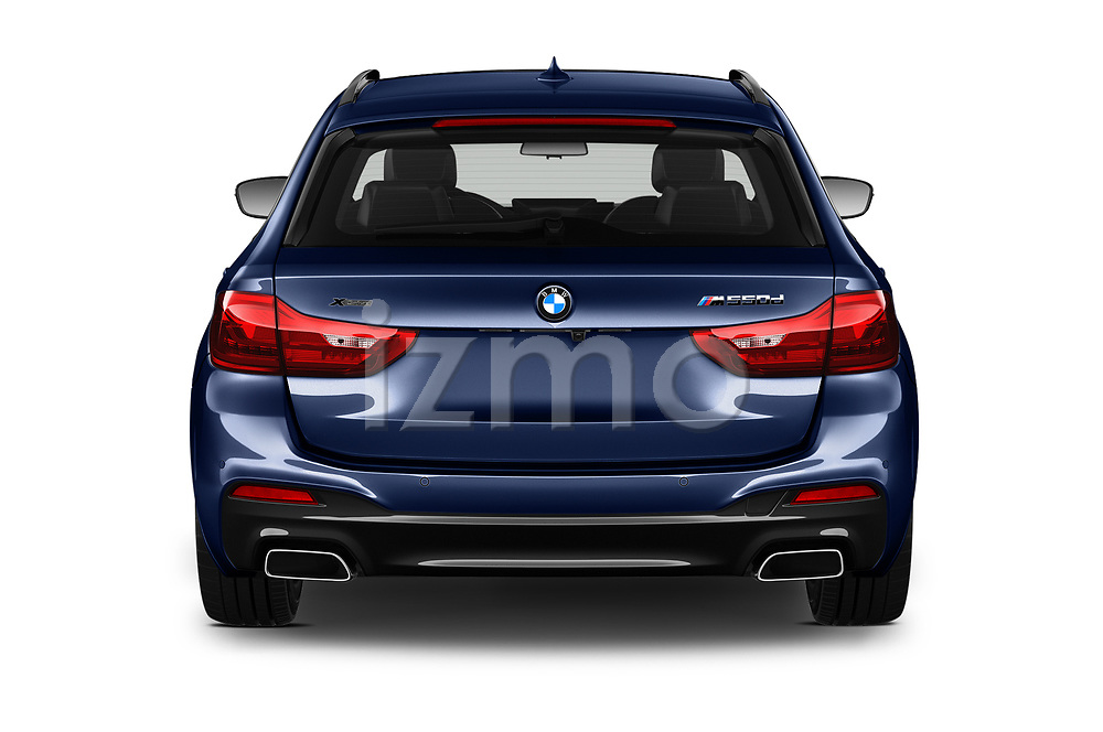 Straight rear view of 2019 BMW 5-Series - 5 Door Wagon Rear View  stock images