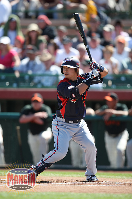 SCOTTSDALE, AZ - MARCH 11: Norichika Aoki of Japan bats during the exhibition game against the San Francisco Giants at Scottsdale Stadium in Scottsdale, Arizona on March 11, 2009. Japan defeated the Giants 6-4. Photo by Brad Mangin