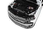 Car stock 2019 Chevrolet Silverado 1500 LTZ 4 Door Pick Up engine high angle detail view