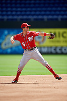 Washington Nationals Carter Kieboom (9) throws to first base during a Florida Instructional League game against the Miami Marlins on September 26, 2018 at the Marlins Park in Miami, Florida.  (Mike Janes/Four Seam Images)