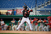 Batavia Muckdogs Evan Edwards (26) at bat during a NY-Penn League game against the Auburn Doubledays on June 19, 2019 at Dwyer Stadium in Batavia, New York.  Batavia defeated Auburn 5-4 in eleven innings in the completion of a game originally started on June 15th that was postponed due to inclement weather.  (Mike Janes/Four Seam Images)