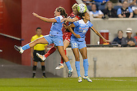 Chicago, IL - Saturday Sept. 24, 2016: Danielle Colaprico, Joanna Lohman, Cara Walls during a regular season National Women's Soccer League (NWSL) match between the Chicago Red Stars and the Washington Spirit at Toyota Park.