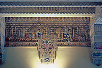 Vancouver: Marine Building Lobby--Ceiling, Detail, viewed from 2nd floor balcony. Vaguely Mayan.