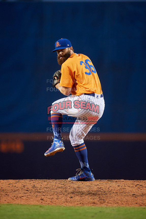 St. Lucie Mets relief pitcher Adam Atkins (36) delivers a pitch during a game against the Daytona Tortugas on August 3, 2018 at First Data Field in Port St. Lucie, Florida.  Daytona defeated St. Lucie 3-2.  (Mike Janes/Four Seam Images)