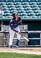 6 June 2021: New Hampshire Fisher Cats infielder Austin Martin watches his solo home run clear the fences in the bottom of the first inning against the Binghamton Rumble Ponies at Northeast Delta Dental Stadium in Manchester, NH. The Rumble Ponies defeated the Fisher Cats 9-6 to close out their 6-game series. Mandatory Credit: Ed Wolfstein Photo *** RAW (NEF) Image File Available ***