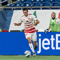 FOXBOROUGH, MA - AUGUST 21: Jonathan Bolanos #17 of Richmond Kickers dribbles during a game between Richmond Kickers and New England Revolution II at Gillette Stadium on August 21, 2020 in Foxborough, Massachusetts.