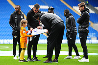 Vicente Iborra of Leicester City signs a shirt for a young fan prior to the Premier League match between Cardiff City and Leicester City at Cardiff City Stadium in Cardiff, Wales, UK. Saturday 3rd November 2018