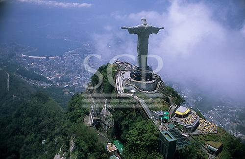 Rio de Janeiro, Brazil. Christ Statue, aerial view showing the escalator from the car park; Corcovado mountain.