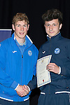 St Johnstone FC Youth Academy Presentation Night at Perth Concert Hall..21.04.14<br /> David Wotherspoon presents to Kasper Balaban<br /> Picture by Graeme Hart.<br /> Copyright Perthshire Picture Agency<br /> Tel: 01738 623350  Mobile: 07990 594431