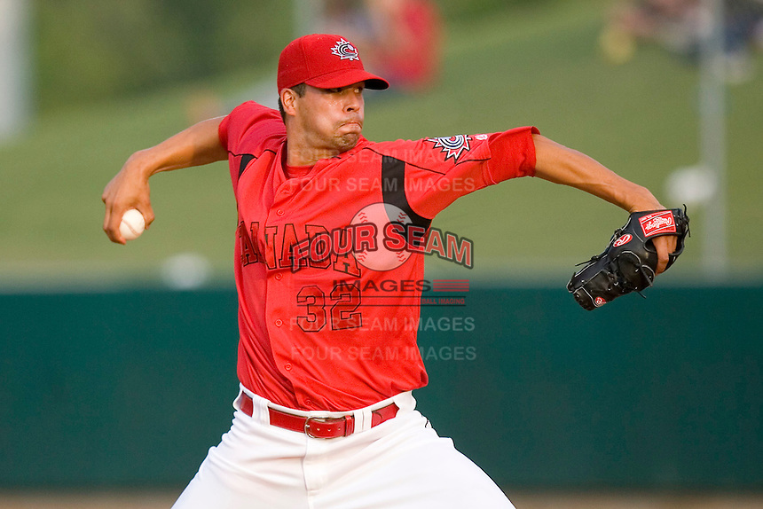 Pitcher Dustin Molleken #32 of Team Canada in action versus Team USA at the USA Baseball National Training Center, September 4, 2009 in Cary, North Carolina.  (Photo by Brian Westerholt / Four Seam Images)