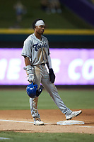 Zach Daniels (23) of the Asheville Tourists stands on third base during the game against the Winston-Salem Dash at Truist Stadium on September 17, 2021 in Winston-Salem, North Carolina. (Brian Westerholt/Four Seam Images)