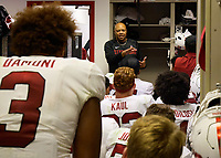 LOS ANGELES, CA - SEPTEMBER 11: Head coach David Shaw of the Stanford Cardinal speaks to the team in the locker room after a game between University of Southern California and Stanford Football at Los Angeles Memorial Coliseum on September 11, 2021 in Los Angeles, California.