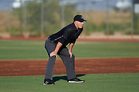 Umpire Larry Dillman Jr. during an Arizona League game between the AZL Padres 1 and AZL Indians Red on June 23, 2019 at the Cleveland Indians Training Complex in Goodyear, Arizona. AZL Indians Red defeated the AZL Padres 1 3-2. (Zachary Lucy/Four Seam Images)