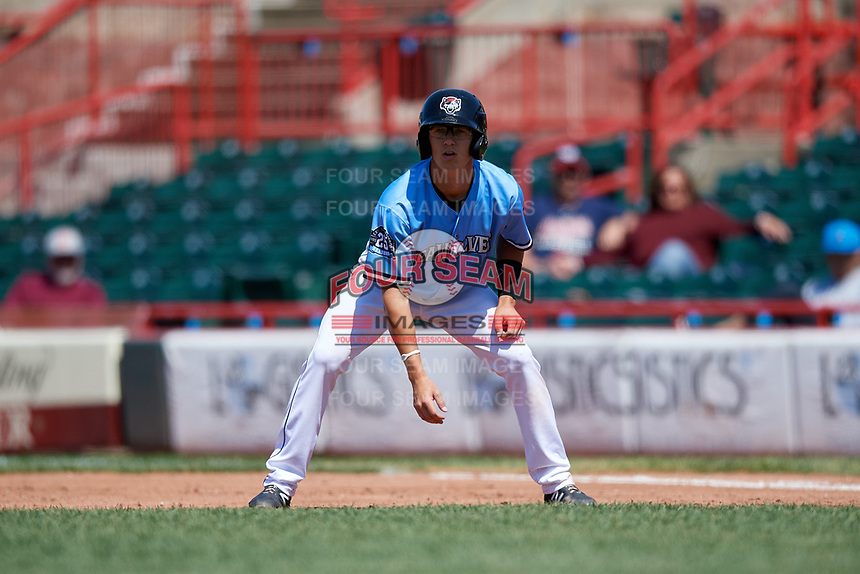 Erie SeaWolves Cole Peterson (10) leads off first base during an Eastern League game against the Akron RubberDucks on June 2, 2019 at UPMC Park in Erie, Pennsylvania.  Erie defeated Akron 8-5 in eleven innings in the second game of a doubleheader.  (Mike Janes/Four Seam Images)