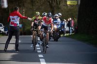 race leader Tosh Van Der Sande (BEL/Lotto-Soudal) handed a bidon<br /> <br /> 58th Brabantse Pijl 2018 (BEL)