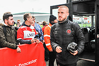 Fleetwood Town's forward Paddy Madden (17) arriving for the Sky Bet League 1 match between Doncaster Rovers and Fleetwood Town at the Keepmoat Stadium, Doncaster, England on 6 October 2018. Photo by Stephen Buckley / PRiME Media Images.