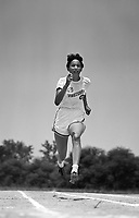 Nell Jackson (1929-1988). Member of Tuskegee Women's Track and Field Team, Tuskegee Alabama, 1952. Jackson was a member of the 1948 U.S. Olympic Women's track team and a record holder in the 200 m. CREDIT: © John G. Zimmerman Archive.