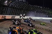 #88: Colton Herta, Andretti Harding Steinbrenner Autosport Honda, #21: Rinus VeeKay, Ed Carpenter Racing Chevrolet crash on a restart