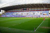 29th April 2021; DW Stadium, Wigan, Lancashire, England; BetFred Super League Rugby, Wigan Warriors versus Hull FC; The empty DW stadium awaits the match of two of the remaining unbeaten teams in the BSL as players inspect the field of play