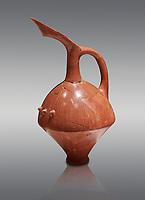 Terra cotta Hittite beaker shaped spouted pitcher - 1700 BC to 1500BC - Kültepe Kanesh - Museum of Anatolian Civilisations, Ankara, Turkey. Against a grey  background