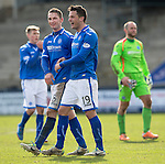 Raith Rovers v St Johnstone....08.03.14    Scottish Cup Quarter Final<br /> All smiles on the faces of Gary McDonald and Gary Miller at full time<br /> Picture by Graeme Hart.<br /> Copyright Perthshire Picture Agency<br /> Tel: 01738 623350  Mobile: 07990 594431