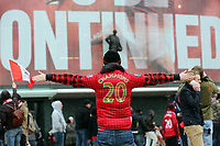 """Pictured: A young manwearing a """"20 Times Champions"""" shirt outside the ground before kick off. Sunday 12 May 2013<br /> Re: Barclay's Premier League, Manchester City FC v Swansea City FC at the Old Trafford Stadium, Manchester."""