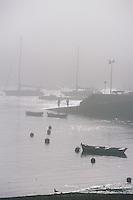 Europe/France/Bretagne/29/Finistère/Sainte-Marine: Brumes sur le port et pécheurs à la ligne