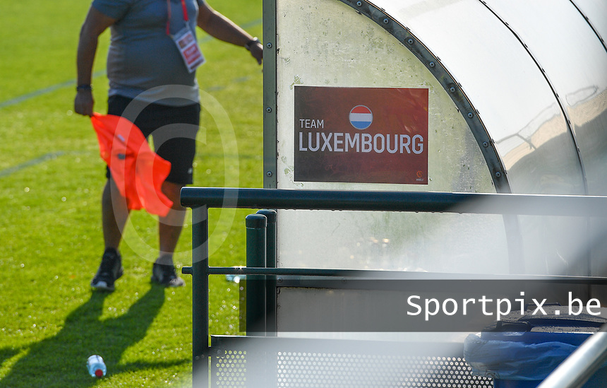 illustration picture showing the Team Luxemburg banner on the bench during a soccer game between the national teams Under17 Youth teams of  Norway and Luxemburg on day 2 in the Qualifying round in group 3 on saturday 9 th of October 2020  in Tubize , Belgium . PHOTO SPORTPIX | DAVID CATRY