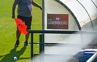 illustration picture showing the Team Luxemburg banner on the bench during a soccer game between the national teams Under17 Youth teams of  Norway and Luxemburg on day 2 in the Qualifying round in group 3 on saturday 9 th of October 2020  in Tubize , Belgium . PHOTO SPORTPIX   DAVID CATRY