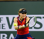 Paula Badosa (ESP) defeated Angelique Kerber (GER) 6-4, 7-5, at the BNP Paribas Open being played at Indian Wells Tennis Garden in Indian Wells, California on October 14,2021: ©Karla Kinne/Tennisclix/CSM