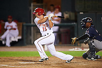 Harrisburg Senators left fielder Cutter Dykstra (15) at bat in front of catcher Wilkin Castillo (14) during a game against the New Hampshire Fisher Cats on June 2, 2016 at FNB Field in Harrisburg, Pennsylvania.  New Hampshire defeated Harrisburg 2-1.  (Mike Janes/Four Seam Images)