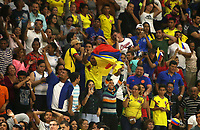 BARRANQUILLA - COLOMBIA, 24-07-2018: Seguidores de Colombia celebran la medalla de oro conseguida ante Cuba durante partido de final en la modalidad de Baloncesto femenino como parte de los Juegos Centroamericanos y del Caribe Barranquilla 2018. /  Fans of Colomba celebrate the gold medal facing to Cuba during final match of women's Basketball as a part of the Central American and Caribbean Sports Games Barranquilla 2018. Photo: VizzorImage / Cont