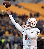 Miami quarterback Ryan Williams. The Miami Hurricanes defeated the Pitt Panthers 41-31 at Heinz Field, Pittsburgh, Pennsylvania on November 29, 2013.