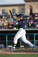 Ramon Laureano (1) of the Lancaster JetHawks bats against the Visalia Rawhide at The Hanger on May 7, 2016 in Lancaster, California. Lancaster defeated Visalia, 19-5. (Larry Goren/Four Seam Images)