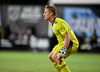 LAKE BUENA VISTA, FL - JULY 26: Tim Melia of Sporting KC sets for a shot during a game between Vancouver Whitecaps and Sporting Kansas City at ESPN Wide World of Sports on July 26, 2020 in Lake Buena Vista, Florida.
